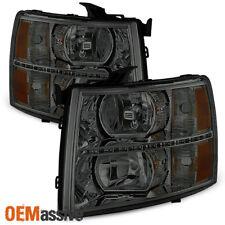 Fit 2007-2013 Chevy Silverado 1500 2007-2014 2500HD 3500HD Smoke LED Headlights