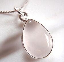 Rose Quartz Pear-Shaped 925 Sterling Silver Pendant Corona Sun Jewelry