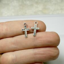 16 Silver Cross Charms 15 x 8 mm Antique Silver Tone 2 Sided - 277