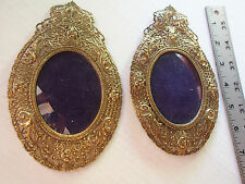 Pair (2) Antique Gilt Filigree ORNATE Open Work Oval Convex Picture Wall Frames