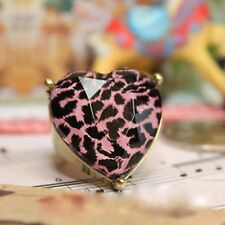 Vintage bronze resin heart leopard animal print ring