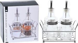 5 Piece Glass & Chrome Oil Vinegar Salt and Pepper Set Condiment Set Cruet Set