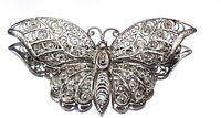 Art Deco Silverplate Batterfly filigree brooch.