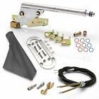 Floor Mount Emergency Parking Brake Gray Boot, Chrome Ring and Cable Kit