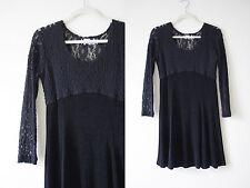 Vtg 90s Black Lace Slinky Skater Babydoll Empire Waist Dress S goth vintage