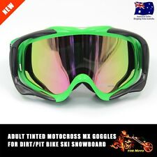 Green Frame Tinted lens Motocross Off-Road Dirt ATV Quad Gokart Bike GOGGLES AU