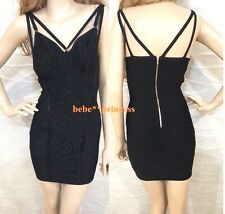 NWT bebe black lace inset multi straps bodycon bandage top dress XS 0 2 club