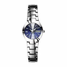 Date Wristwatch Women Quartz Analog Digital Waterproof Watch Stainless Steel