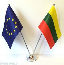 European Union EU & Lithuania Flags Chrome and Satin Table Desk Flag Set