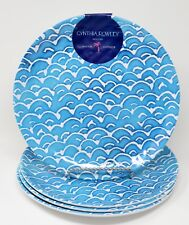 Cynthia Rowley 4 blue white fish scale waves melamine side salad lunch plates