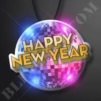 12PCS NEW YEARS DISCO BALL Light Up Flashing Blinky Pin Necklace