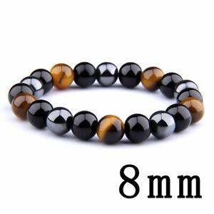 Obsidian Tiger Eye Hematite Bracelet Triple Protection Stone Bangle Men Jewelry