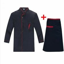 Chef Jacket Long Sleeve Chef Jacket Coat Apron Cook Hotel Uniform for Men Women