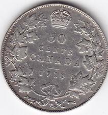 1918 Canada Silver 50-Cent Half Dollar Coin