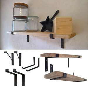 Industrial Pairs of Black Cast Iron Wall Shelf Brackets Floating Shelves Support