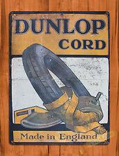 """TIN-UPS TIN SIGN """"Dunlop Cord"""" Tire Garage Rustic Wall Decor"""