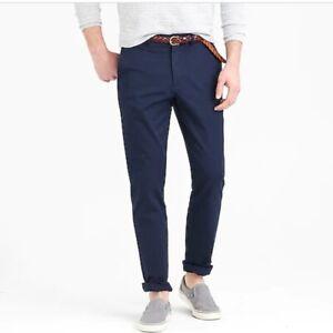 J.Crew Chino Pants Mens Size 32x30 Navy Blue 770 Straight-fit Stretch Twill NWT