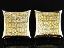 10K Yellow Gold Canary Diamond Kite Shape Stud Earrings 19 mm