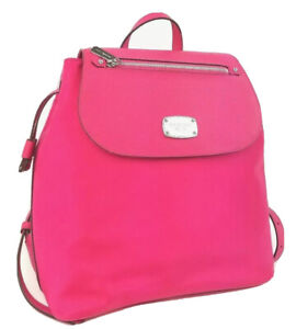 Michael Kors Backpack Large Nylon Bedford Zip Book Bag (Ultra Pink)