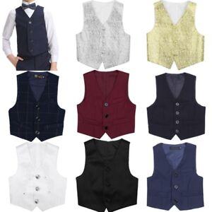 Kids Boys Gentleman Party Wedding Formal Suit Vest Waistcoat Tuxedo Clothes UK