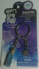NEW AQUARIUS WHAT'S YOUR SIGN ? ZODIAC PIXIE DUST GLASS VIAL KEY CHAIN KEYCHAIN