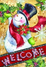 NEW LARGE CUTE TOLAND CHRISTMAS WINTER WELCOME FLAG CANDY CANE SNOWMAN 28 X 40