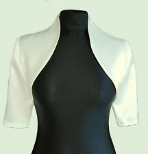 New Women Ladies Ivory Wedding Prom Satin Bolero Shrug Jacket Size S M L XL XXL