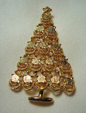 VINTAGE CHRISTMAS TREE BROOCH-GOLD TONE