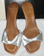 wooden and siver mules size 5