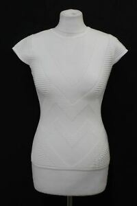 KAREN MILLEN Ladies White Stretch Ribbed Knit Cap Sleeve Jersey Top Size S NEW