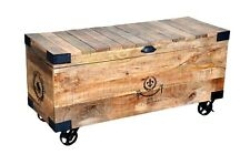 Indian Handmade Industrial Style Wooden Trunk Box Chests Storage With Wheels