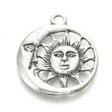 Sun Moon Charm Pendant Tibetan Silver Man Gothic Pack of 10