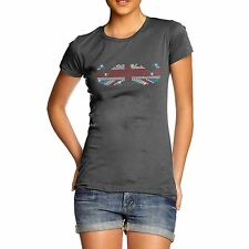 Women's Union Jack Moustache Rhinestone Diamante  Cotton T-Shirt