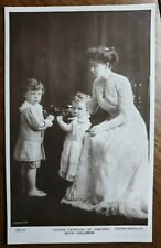 Crown Princess Margaret of Sweden & Children. Real Photograph Rotary Postcard.