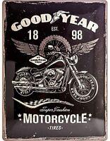 Goodyear Moto Tires Goffrato Insegna Acciaio 400mm x 300mm (Na)