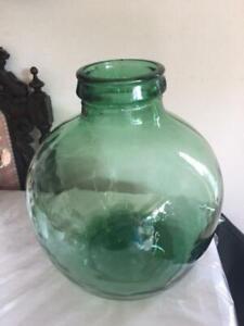 Vintage Large VIRESA Green Glass Terrarium Carboy Bottle Planter