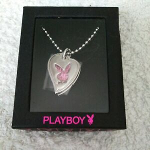 Playboy  Crystal Pink Heart & Silver Bunny Necklace
