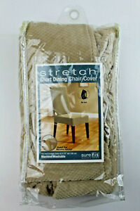 """Sure Fit Stretch Short Dining Chair Cover Taupe Up to 42"""" Tall Machine Washable"""