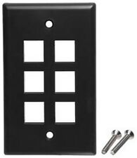 Keystone flush Wall face Plate 6/Six mounting Hole/Jack/Port/Cavity $SHdi{​BLACK