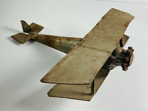 Antique Folk Art Metal Airplane plane WOW very cool plane