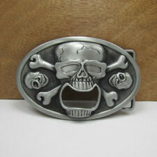 Skull Bottle Opener Men's Novelty Belt Buckle Western Cowboy Beer Holder