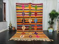 "Boujaad Handmade Moroccan Vintage Rug 5'5""x8'9"" Geometric Colorful Berber Rug"