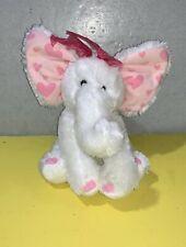 "Russ Berrie Elephant Bean Plush 13"" ELLIE White Soft Toy Stuffed Pink Hearts"
