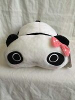 """New 10.5"""" Cute Black and White Panda With Pink Bow Flush Stuffed Toy For Kids"""