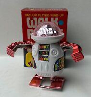 """ROBOT """"WALK ROBOT"""" GIOCATTOLO CARICA A MOLLA ANNI 80 ROSA"""