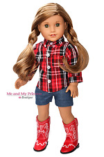 Western Shirt + Shorts + Girl Cowboy  Boots clothes for 18 inch American Doll