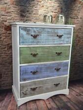 Kommode Schrank mit 4 Schubladen bunt Landhaus Shabby Chic Vintage Weiß LV1009