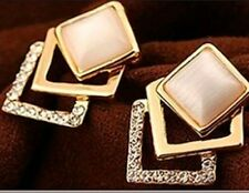 Beautiful Crystal Gold Womens 3 Layer Rhinestone Square Peach Pink Opal Earrings