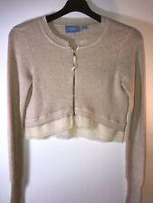 Vera Wang Womens Small Blush Sparkle Sweater Chiffon Hem Cropped