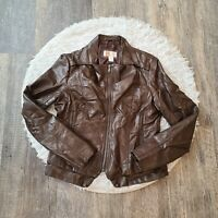Bernardo Collection Women's Brown Faux Leather Moto Jacket Size Medium M